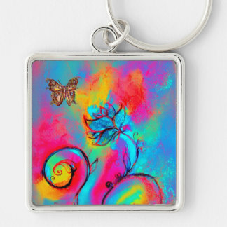 WHIMSICAL FLOWERS BUTTERFLIES pink yellow blue Keychains