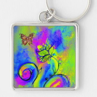 WHIMSICAL FLOWERS BUTTERFLIES pink yellow blue Key Chains