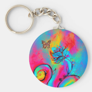 WHIMSICAL FLOWERS BUTTERFLIES pink yellow blue Key Chain