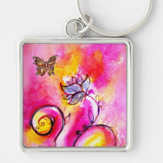 WHIMSICAL FLOWERS & BUTTERFLIES pink yellow blue Silver-Colored Square Keychain
