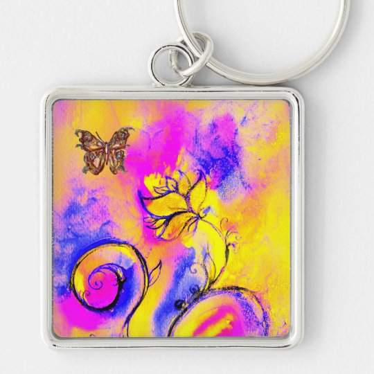 WHIMSICAL FLOWERS & BUTTERFLIES pink yellow blue Keychain