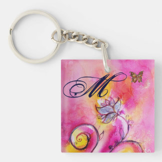 WHIMSICAL FLOWERS & BUTTERFLIES pink yellow blue Double-Sided Square Acrylic Keychain