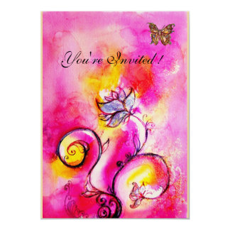 WHIMSICAL FLOWERS & BUTTERFLIES pink yellow Card