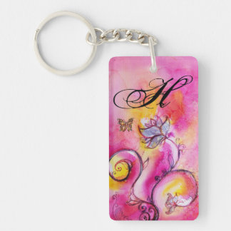 WHIMSICAL FLOWERS & BUTTERFLIES pink yellow purple Double-Sided Rectangular Acrylic Keychain
