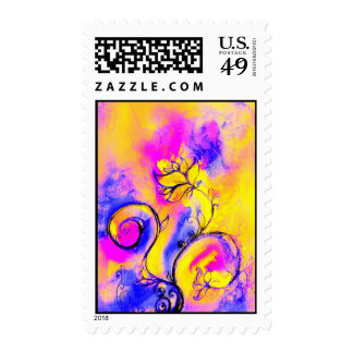 WHIMSICAL FLOWERS BUTTERFLY blue pink yellow Postage Stamp