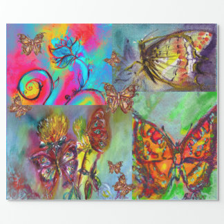 WHIMSICAL FLOWERS ,COLORFUL BUTTERFLIES IN NATURE WRAPPING PAPER