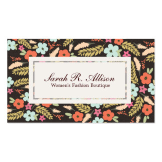 Whimsical Flowers Fashion Boutique Suede Look Double-Sided Standard Business Cards (Pack Of 100)
