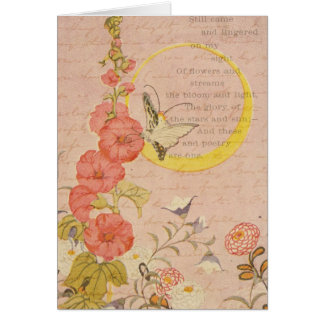 Whimsical Flowers Girly Pink Garden Moon Thank You Card