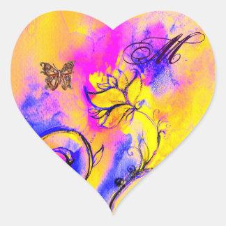 WHIMSICAL FLOWERS, GOLD BUTTERFLY HEART MONOGRAM HEART STICKER