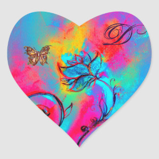 WHIMSICAL FLOWERS, GOLD BUTTERFLY HEART MONOGRAM STICKERS