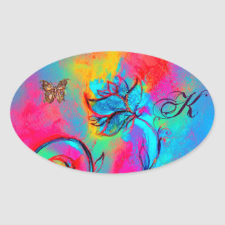 WHIMSICAL FLOWERS, GOLD BUTTERFLY OVALE  MONOGRAM OVAL STICKER