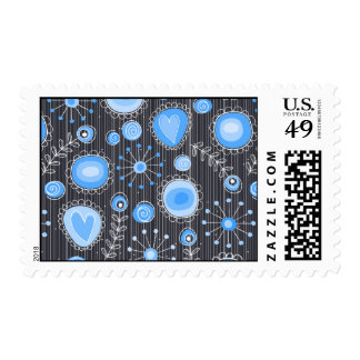 Whimsical flowers in blue and grey postage stamp
