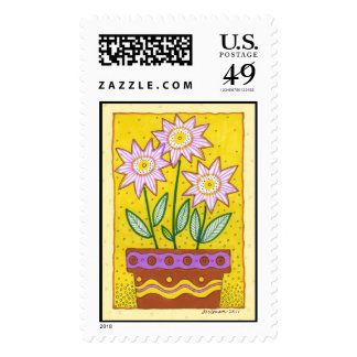 Whimsical Flowers in Flower Pot Postage