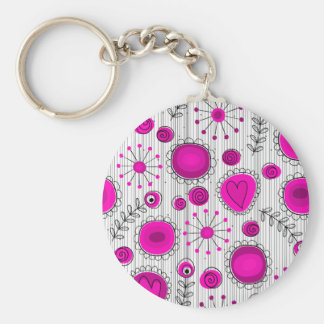 Whimsical Flowers in Pink Keychain