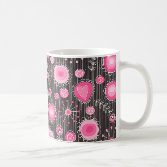 Whimsical Flowers in Pink mug
