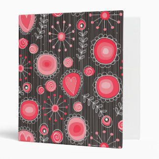 Whimsical flowers in red and grey 3 ring binder