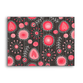 Whimsical flowers in red and grey envelopes
