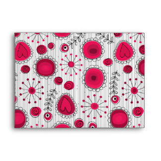 Whimsical flowers in red and white envelopes