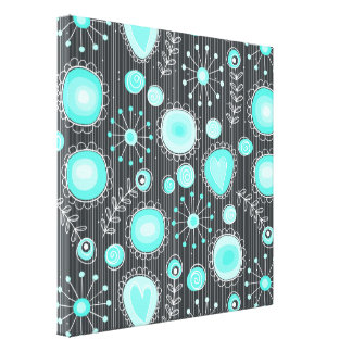 Whimsical Flowers in Turquoise Wrapped Canvas Stretched Canvas Print