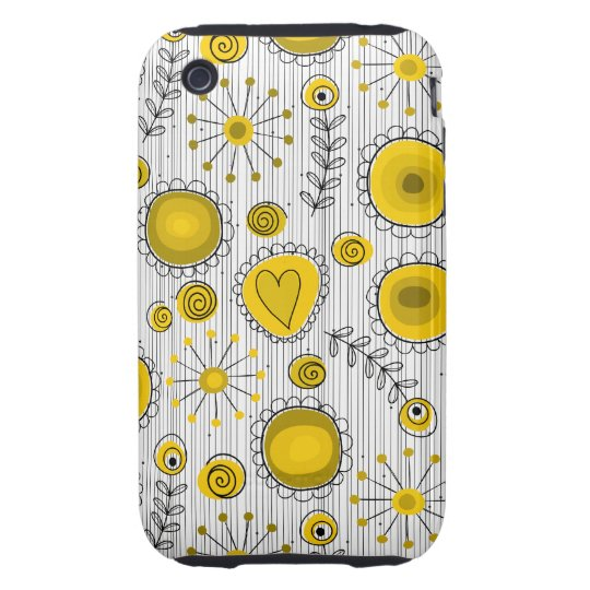 Whimsical Flowers in Yellow iPhone 3G Case-Mate