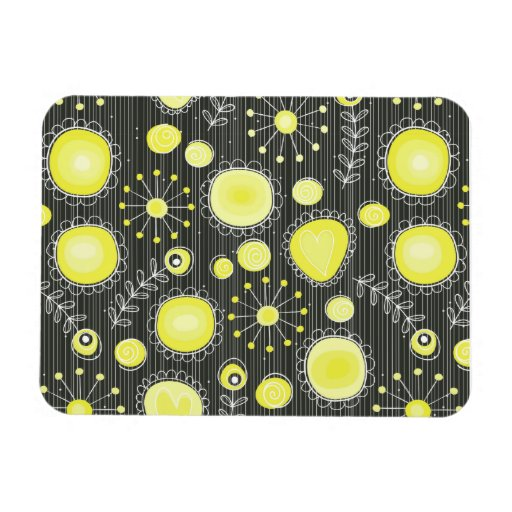Whimsical Flowers in Yellow Magnet Flexible Magnet