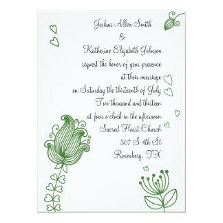 Whimsical Flowers Invitation - Green