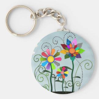 Whimsical Flowers Keychain