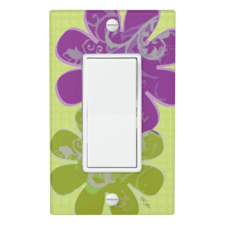 Whimsical Flowers (lime green/purple) Light Switch Cover