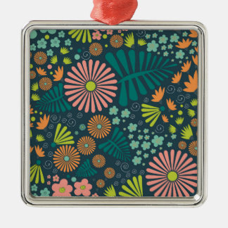 Whimsical Flowers Metal Ornament