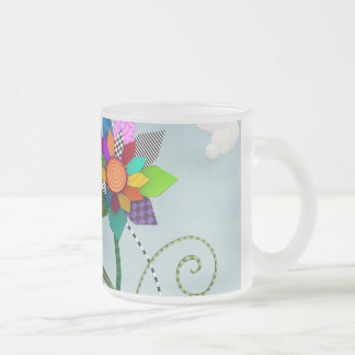 Whimsical Flowers 10 Oz Frosted Glass Coffee Mug
