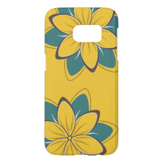 Whimsical Flowers Mustard Yellow Samsung Galaxy S7 Case