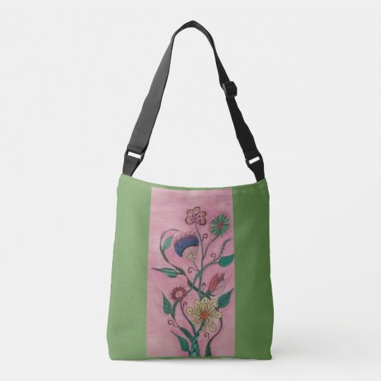 Whimsical flowers on bag