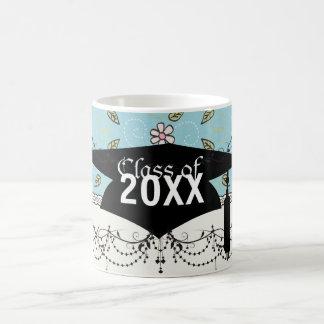 whimsical flowers on blue graduation classic white coffee mug