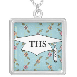 whimsical flowers on blue graduation square pendant necklace