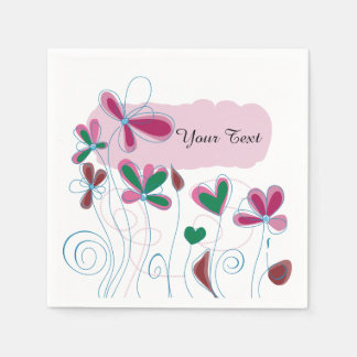 Whimsical Flowers | Personalize Napkin