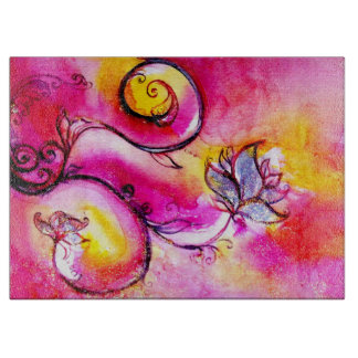 WHIMSICAL FLOWERS Pink Fuchsia Orange Yellow Cutting Boards