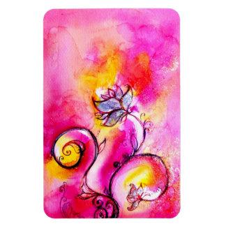 WHIMSICAL FLOWERS  pink fuchsia yellow purple Rectangular Photo Magnet