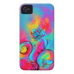 WHIMSICAL FLOWERS  pink yellow blue Case-Mate iPhone 4 Case
