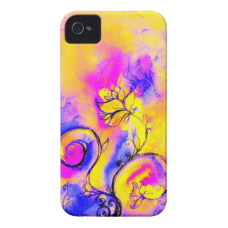 WHIMSICAL FLOWERS pink yellow purple iPhone 4 Case-Mate Cases
