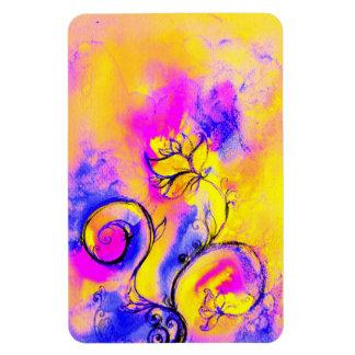 WHIMSICAL FLOWERS  pink yellow purple Rectangular Photo Magnet