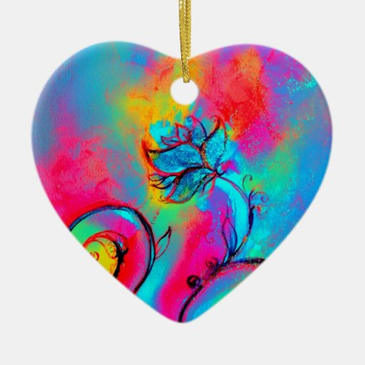 WHIMSICAL FLOWERS  pink yellow purple, teal blue Double-Sided Heart Ceramic Christmas Ornament