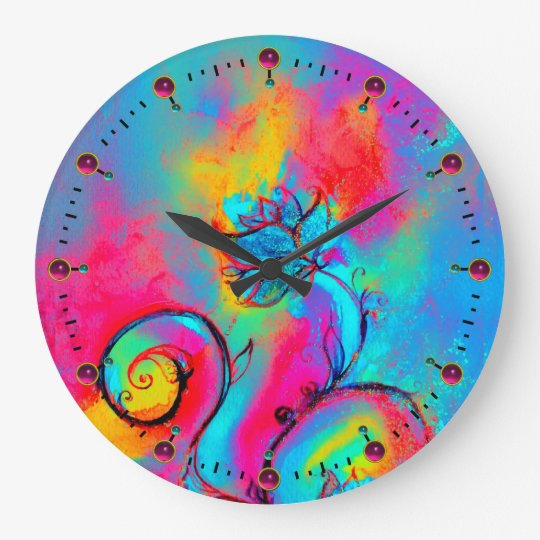WHIMSICAL FLOWERS  pink yellow teal blue Large Clock