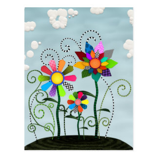 Whimsical Flowers Postcard