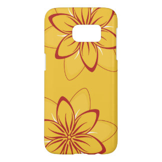 Whimsical Flowers Red Yellow Samsung Galaxy S7 Case
