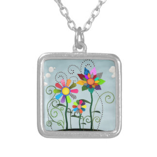 Whimsical Flowers Silver Plated Necklace
