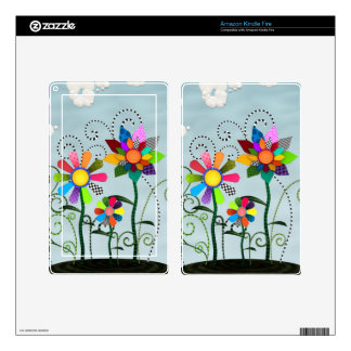 Whimsical Flowers Skin For Kindle Fire
