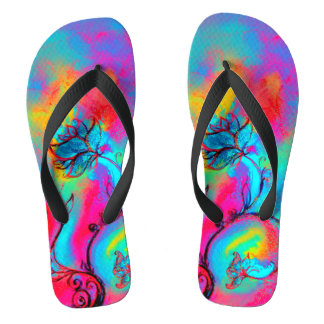 WHIMSICAL FLOWERS  teal blue pink yellow Flip Flops