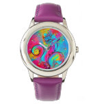 WHIMSICAL FLOWERS  teal blue pink yellow Watches