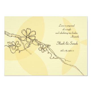 Whimsical Flowers Wedding Iinvitation 2 5x7 Paper Invitation Card