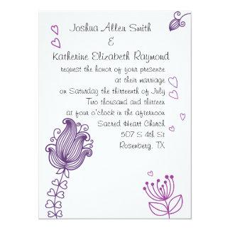 Whimsical Flowers Wedding Invitation